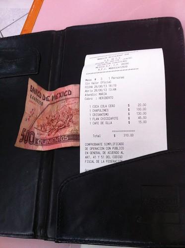 México DF | Restaurante Don Chon | La cuenta