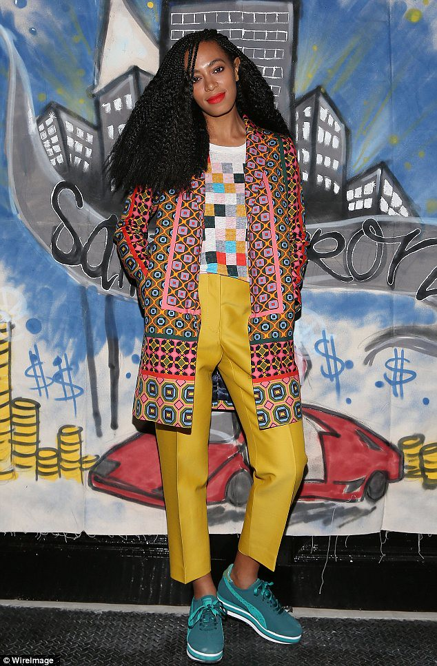 bold-&-bright-colours-trend,new Saint Heron compilation, Opening Ceremony, J.Crew Printed Twill Coat, Grid Block Tee, J.Crew silk blended cropped pants, Printed Twill Coat, silk blended cropped pants, teal green sneakers, silk cropped mustard trousers, a printed twill coat, patterned coat, Grid Block Tee