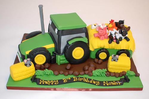 John Deere Tractor And Trailer Cake