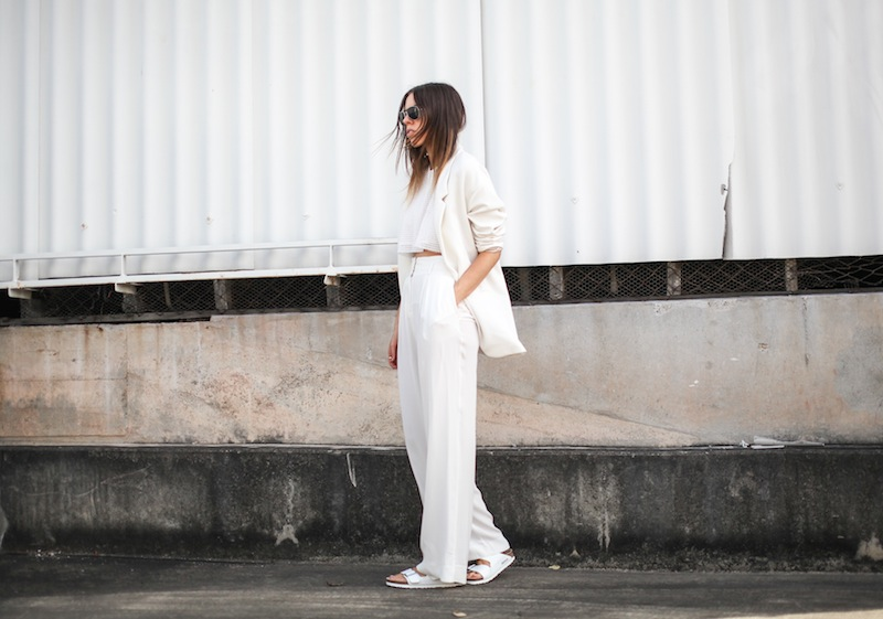 modern legacy fashion style blogger australia sass bide wide leg silk pants faddoul label top zara boyfriend blazer white birkenstocks street style alexander wang rafael bag (6 of 11)