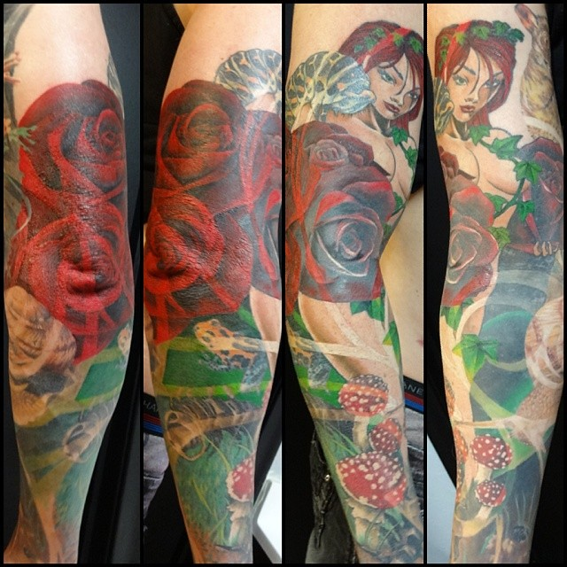 Got a ton done on this garden of eden sleeve this last week thanks to space man for flying for Garden of eden tattoo