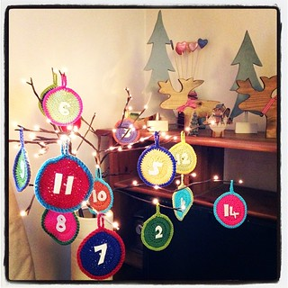 The crochet advent calendar looks pretty. And we are starting to Christmas it up. Feels a bit early though.