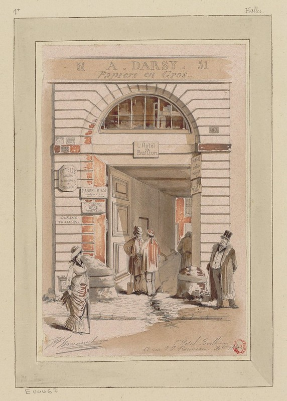 watercolour & pen sketch of 19th century Paris urban scene - people milling about in front of building facade entranceway (paper selling business)