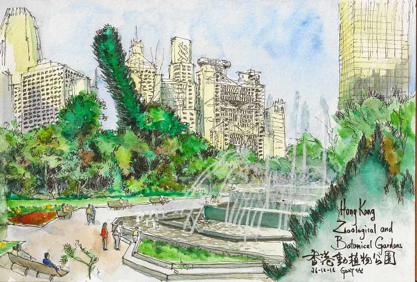 Sketching the skyline at Hong Kong Zoological and Botanical Gardens