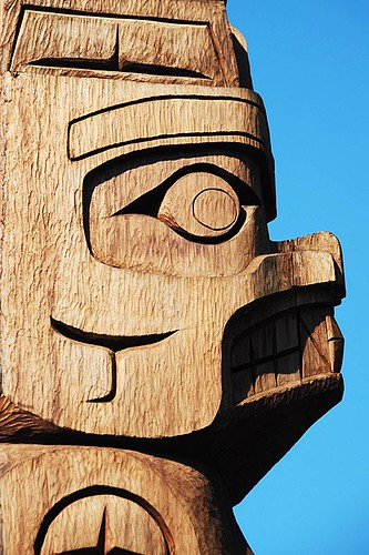 Tseshaht First Nation Totem Pole in Port Alberni, Alberni Valley, Vancouver Island, British Columbia