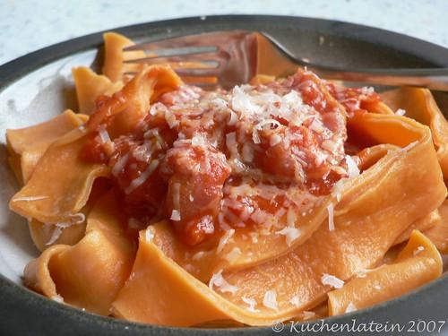 Homemade pasta with extra-easy tomato & bacon sauce