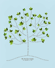 Family tree with names art light blue brown present day green leaves roots divorce