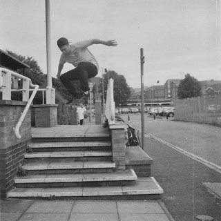 Chris Healey - Kickflip at Riverside in High Wycombe - Lubitel 2 - Ilford 3200.