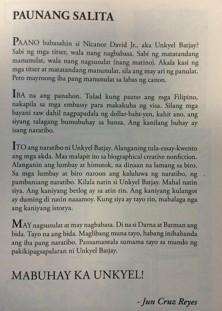 Paunang Salita ng Batang Kaning Lamig ni Jun Cruz Reyes