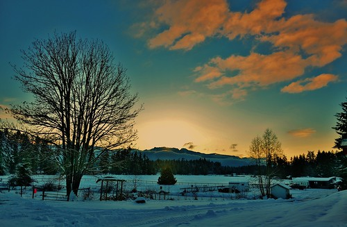 snow sunset farm