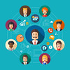 Illustration of flat design business team work composition