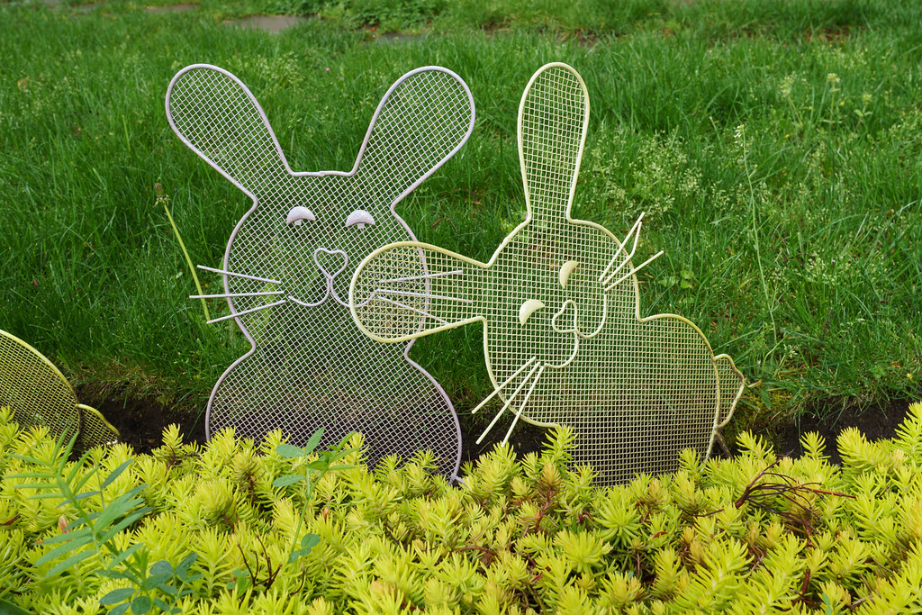 Rabbit decorations in a yard