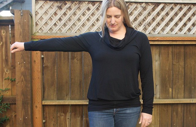 black cowl neck Lane Raglan arm