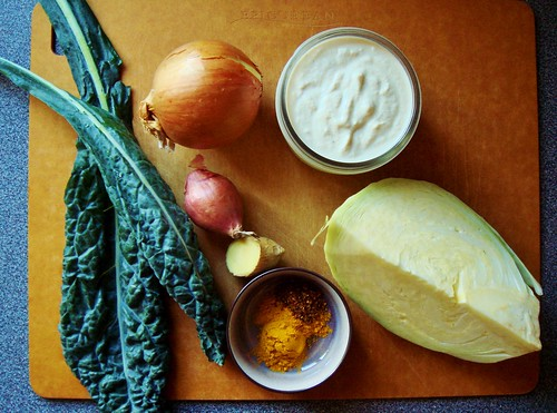 Gingery Creamed Kale & Cabbage