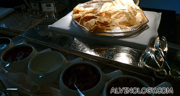 Papadum with a variety of sauces - I love this