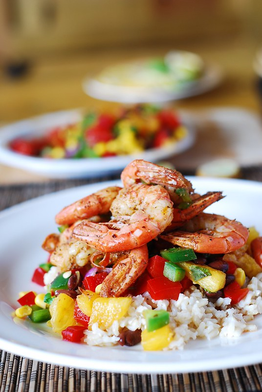 Shrimp with mango salsa and rice