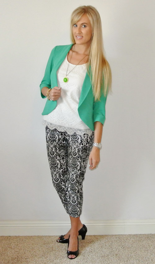 Outfit: damask, green, lace