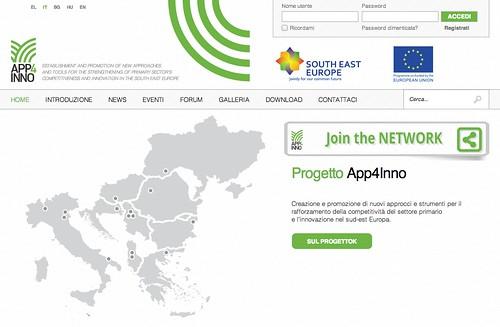 La home page del sito dedicato ad APP4INNO