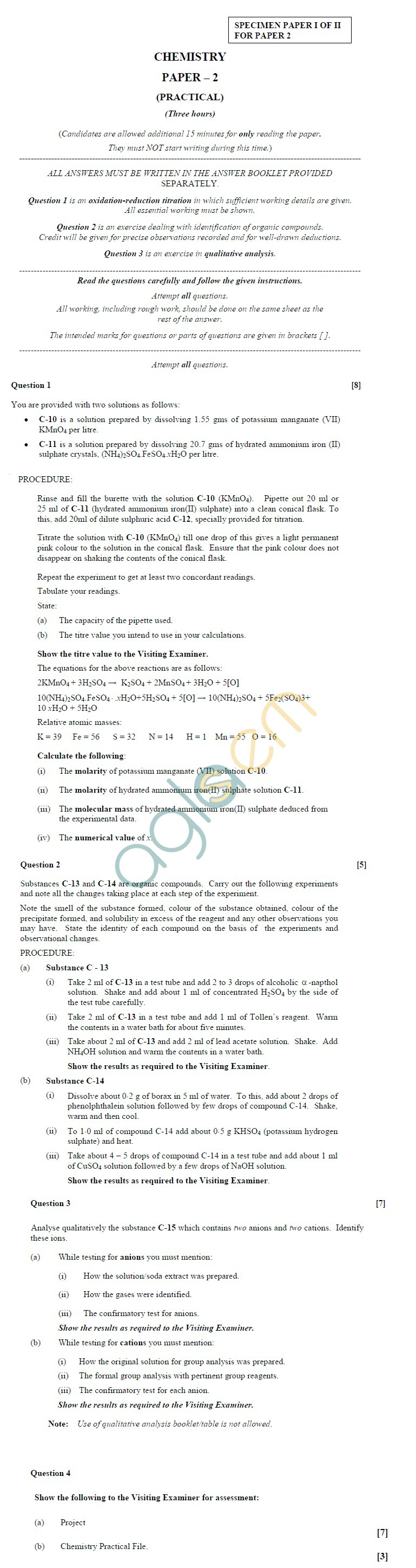 ISC Class 12 Chemistry Sample Paper 2 I of II