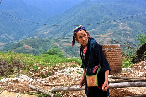 Lina's tag-a-long guide who literally held her hands as we went down the muddy rice terraces