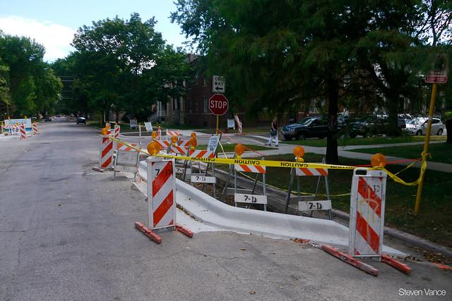 Construction of the Berteau Avenue neighborhood greenway