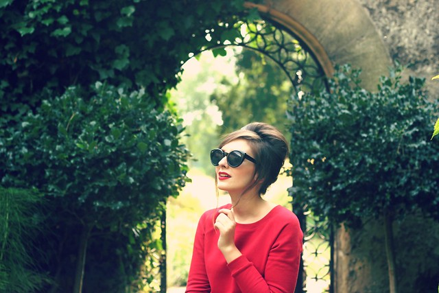 Sunglasses and red dress