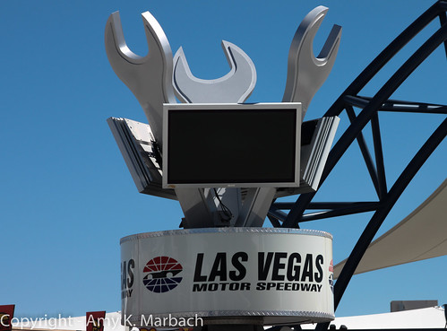 Monitors in Las Vegas Motor Speedway's Neon Garage