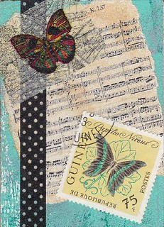 music and butterfly ATC