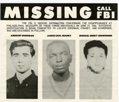 Missing poster for James Chaney, Mickey Schwerner and Andrew Goodman