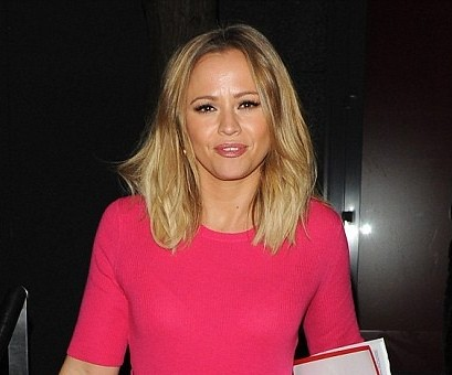 Kimberley Walsh in Marc Cain Pink Dress AW13