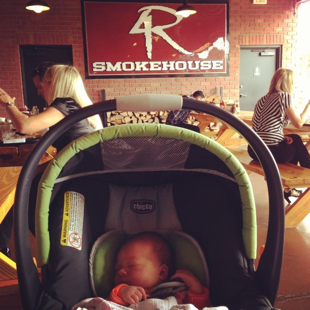 Never too young for a little 4 Rivers!!! #Yummmmmus. @4riverssmokehouse @kendradee03 @kdlower