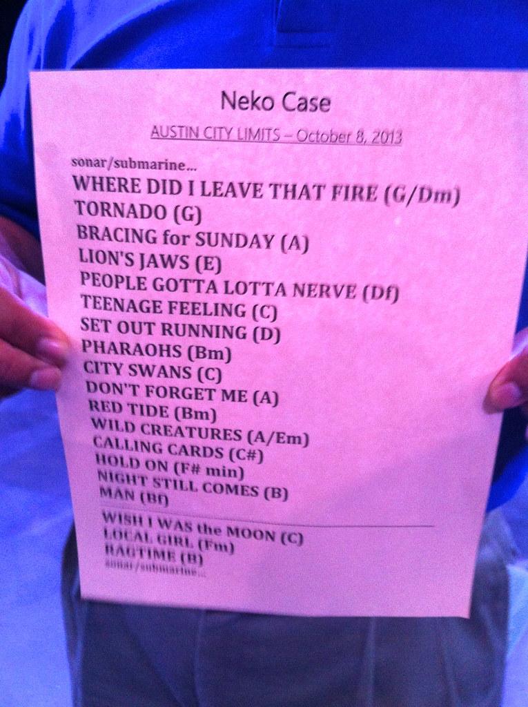 Neko Case ACL taping set list