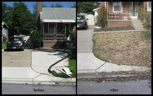 Before and after image of pavement removal.
