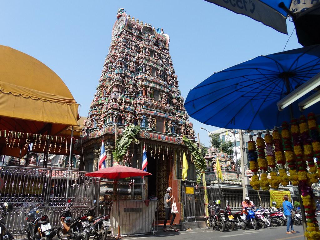 Street Scene at Sri Maha Mariamman - Hindu Temple - Bangkok - Thailand