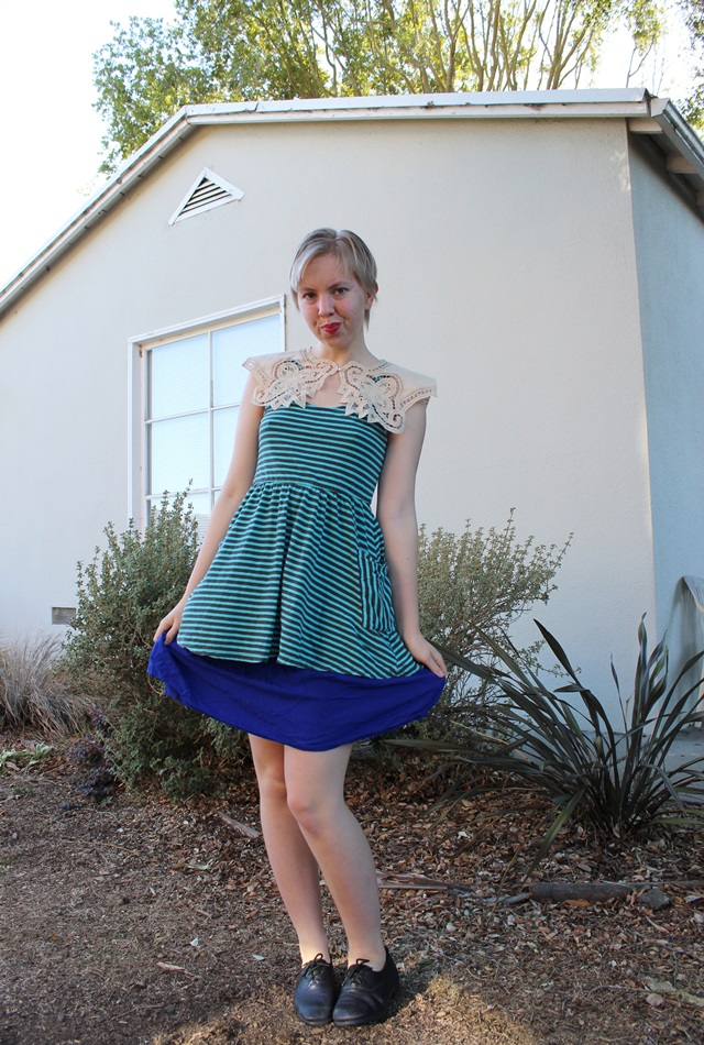Vintage Cream Lace Collar, Mint Striped Mini Dress, Blue Skirt - OOTD 1/12/2014