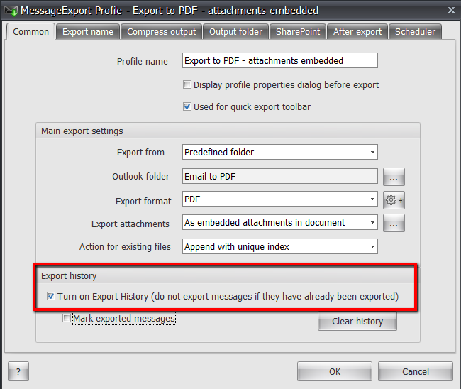 Screen shot showing how to configure MessageExport's email export history to prevent duplicate exports to PDF format.