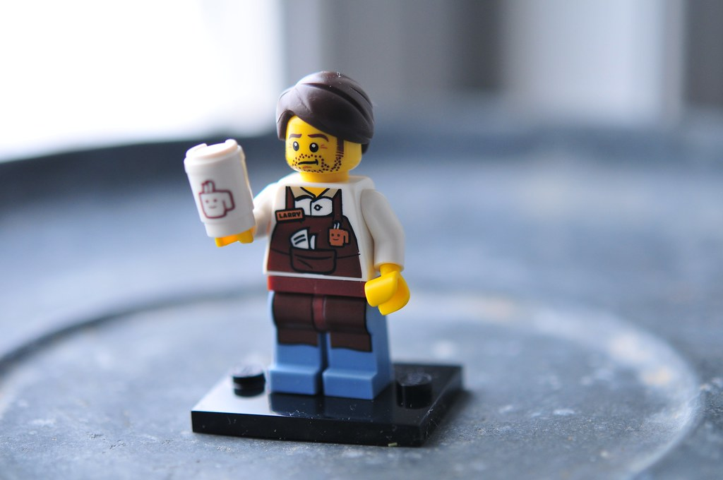 a lego figurine named Larry who's a barista