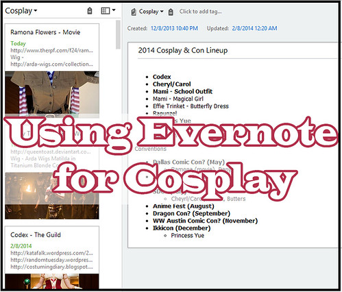 Evernote for Cosplay