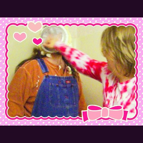 If you can't be ridiculously silly with the person you love, you're doing it wrong! Happy Valentine's Day, everybody!! #ValentinesDay #pieintheface #overalls #splat #SillinessIsAwesome