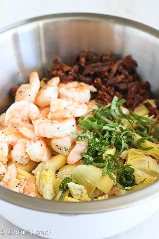 Shrimp & Artichoke Whole Wheat Pasta Salad Recipe | cookincanuck.com #recipe #pasta