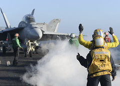 Sailors conduct flight operations aboard USS Nimitz (CVN 68) during COMPTUEX, March 31. (U.S. Navy/MCSN Ian Kinkead)