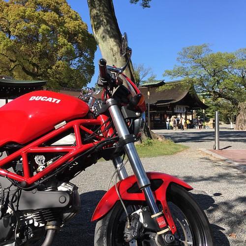国府宮へお参りに来ましたよー!!いい天気! #ducati #ducatimonster #japanesesky #sky #shintoshrine #japanese