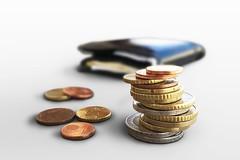 Euro Münzgeld und Portmonee (Geld, Kleingeld, Münzen)