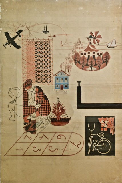 Study for a mosaic painting for a block of Águas Livres Building, Lisbon. Architects: Nuno Teotónio Pereira and Bartolmeu Costa Cabral (c. 1955 - 1956) - José de Almada Negreiros (1893 - 1070)
