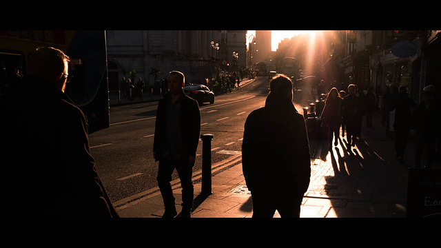 Sunset in Dame Street - Dublin, Ireland - Color street photography