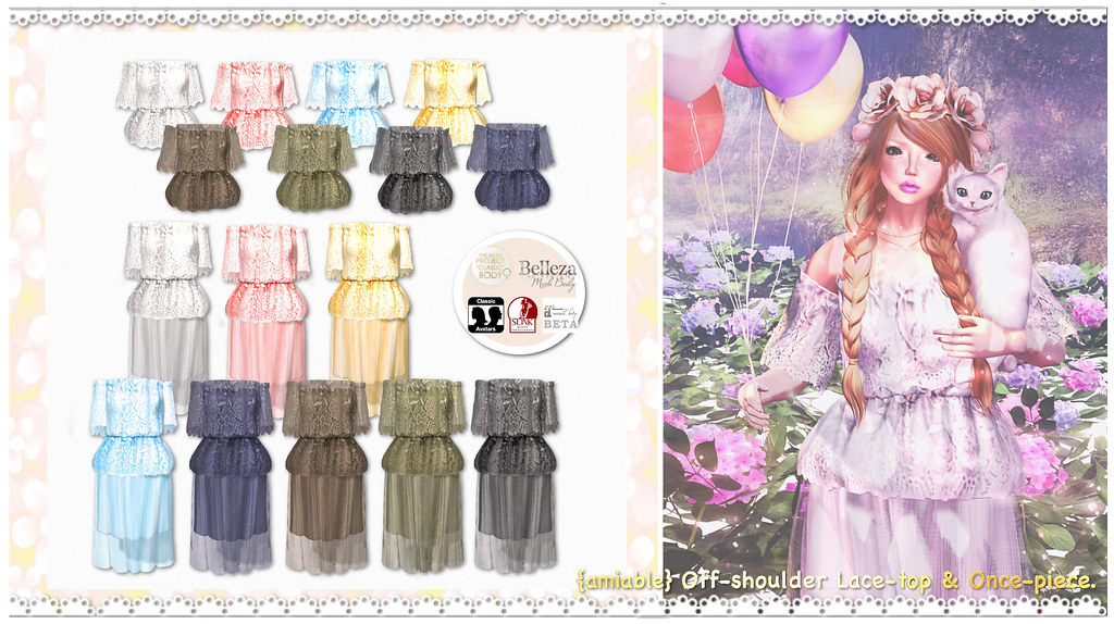 {amiable}Off-shoulder Lace-top One-piece@ the Chapter Four(50%OFF SALE). - SecondLifeHub.com