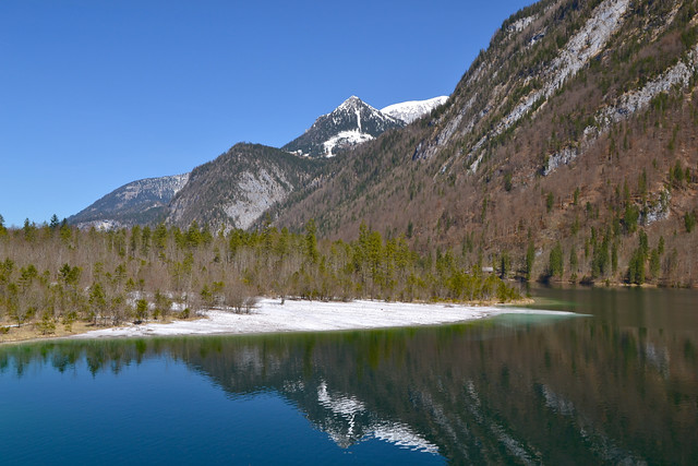 At the Königssee lake on a clear day in April
