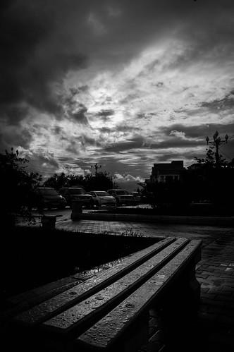 street city summer sky urban blackandwhite bw black rain weather skyline landscape drops day cloudy horizon bnw blackdiamond