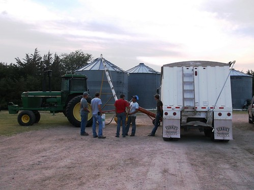 Cody and the crew chatting while they unload the wheat into a grain bin