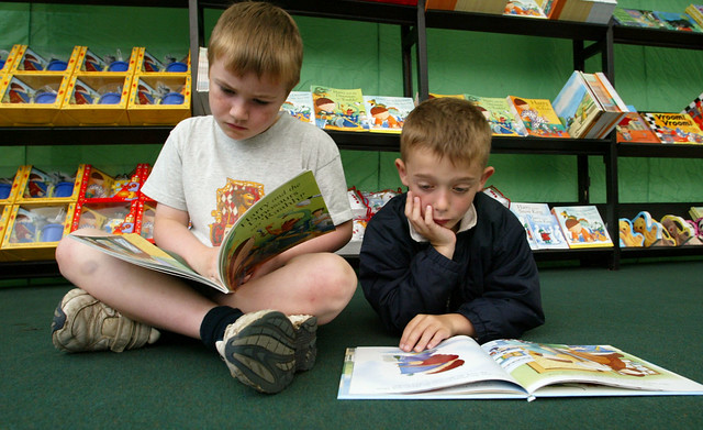 Young readers in the children's bookshop